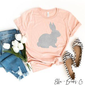 🐇💛 Silver Glitter Easter Bunny Tsbirt - NEW